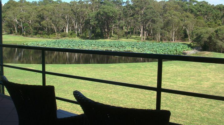 View of the Macquarie lake from one of the hotel balconies